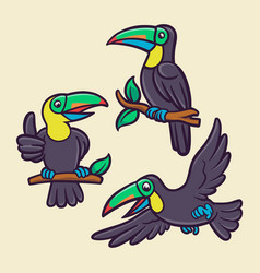 toucan bird is flying and perched on a tree trunk vector image