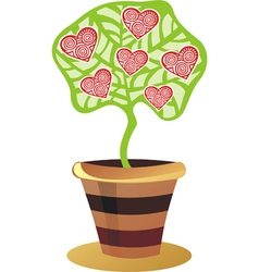 Tree with hearts valentines day card vector image
