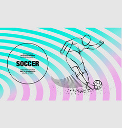 Tricky kick soccer player outline of vector