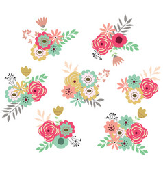 vintage flower set vector image