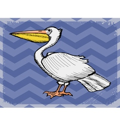 Vintage grunge background with pelican vector