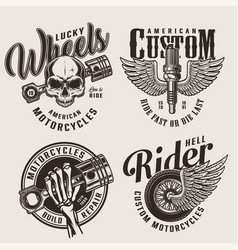 vintage motorcycle repair service emblems vector image