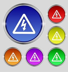 Voltage icon sign Round symbol on bright colourful vector