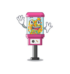 waving candy vending machine in a cartoon vector image