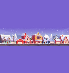 winter street in suburb district with houses vector image