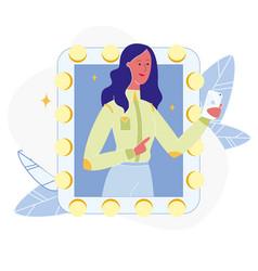 Woman taking photo in mirror flat vector