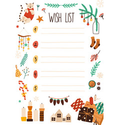 Xmas wish list flat notebook vector