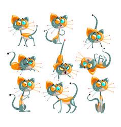 cute robotic cat set funny robot animal in vector image