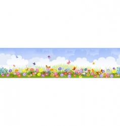 herbaceous border panorama vector image