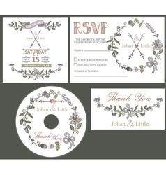 Vintage wedding design template set with flowers vector image