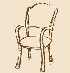 Wooden chair with armrests vector image vector image