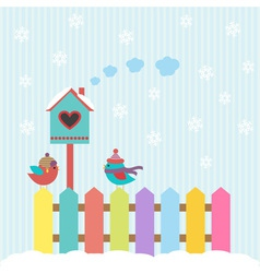 Background with birds and birdhouse winter vector image