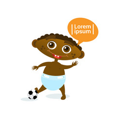 cute baby boy african american with football ball vector image vector image