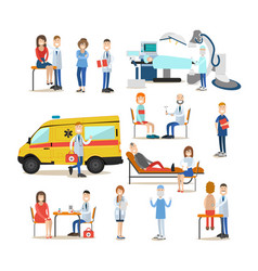group of medical doctors paramedics and patients vector image vector image