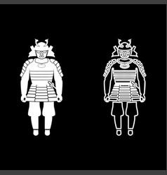 samurai japan warrior icon set white color flat vector image vector image