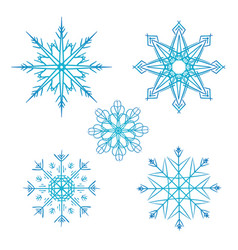 set of doodle snowflakes for your creativity vector image vector image