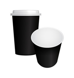 set of realistic paper coffee cup with black cap vector image vector image