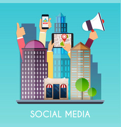 social media and on devices in hands of city vector image vector image