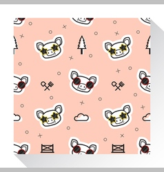 Animal seamless pattern collection with piggy 1 vector image vector image