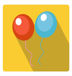 balloons for celebration icon flat style with long vector image vector image
