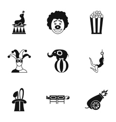 Circus performance icons set simple style vector