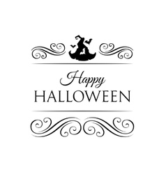 Cute Happy Halloween card with hat witch with bat vector image vector image