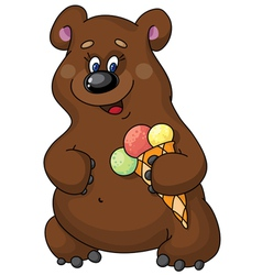 funny bear and ice cream vector image vector image