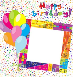 Happy Birthday colorful card with confetti and vector image