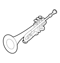 Trumpet icon outline isometric style vector image