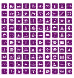 100 children activities icons set grunge purple vector image