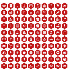 100 dessert icons hexagon red vector