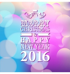 2016 Merry Christmas and Happy New Year card or vector image