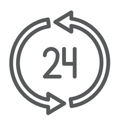 24 hours delivery line icon service and delivery vector image