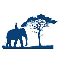 A man riding an elephant in an african savannah vector