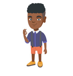 African-american little boy showing ok sign vector
