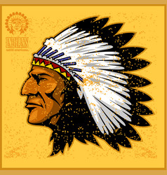 American native chief head vector