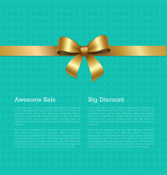 Awesome sale big discount certificate card design vector