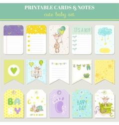Baboy card set - with cute giraffe vector