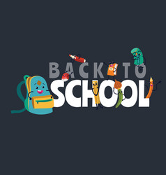 back to school banner welcome flat template with vector image