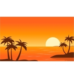 Beach with palm at sunset landscape vector