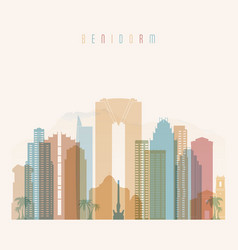 benidorm skyline detailed silhouette transparent vector image