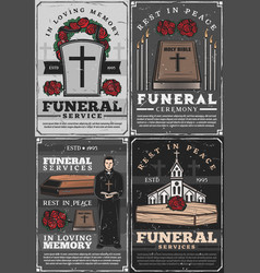 Burial ceremony church priest funeral services vector