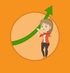 Business woman holding arrow going up vector