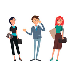 businessman talking on phone businesswoman smiling vector image