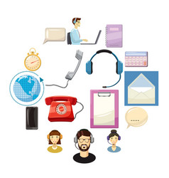 call center icons set cartoon style vector image