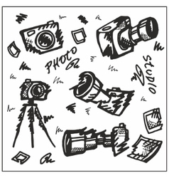 Cameras Hand-painted Black vector