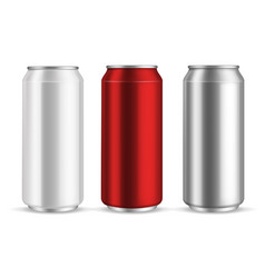Cans aluminum realistic metal blank can beer vector