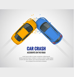Car crash car accident top view isolated on a vector
