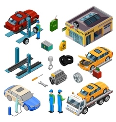 Car Service Isometric Decorative Icons vector