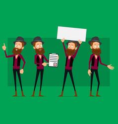 Cartoon cute hipster boy character big set vector